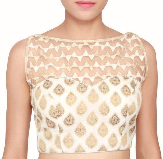 Cream and gold boat style sleeveless