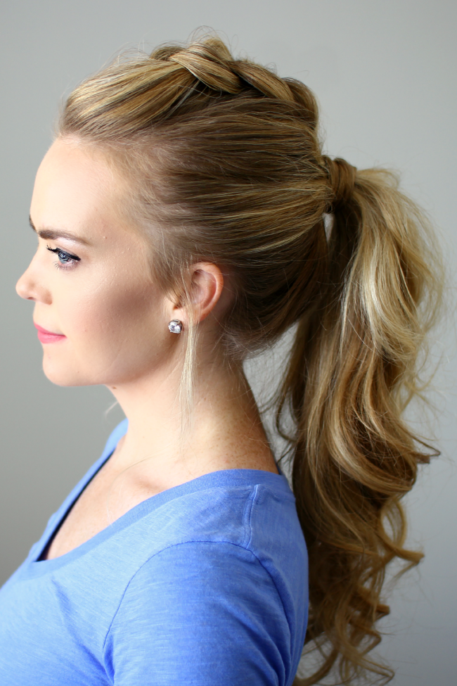 Crown braided high pony tail for long hairs