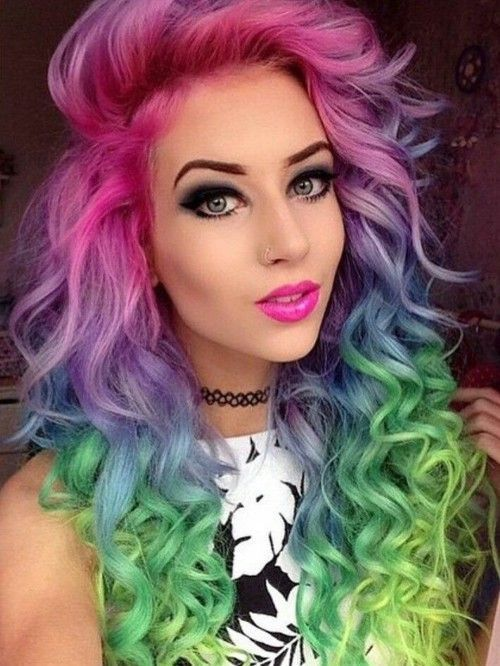 Curly hair with rainbow colors