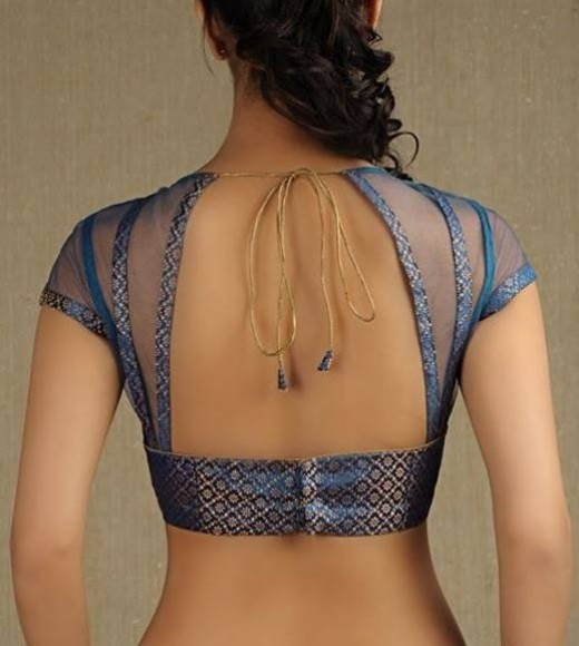 Lace work backless net blouse design