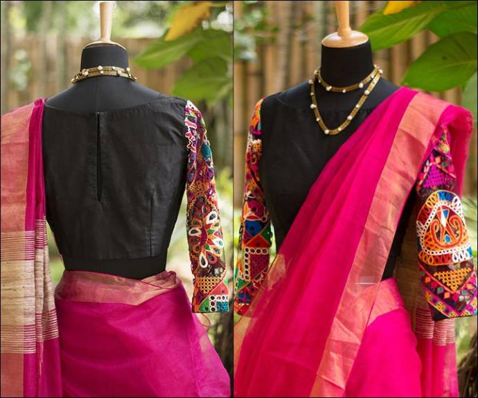 black boat neck blouse design for traditional wear