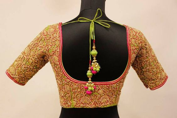 Pattu blouse design model with lace