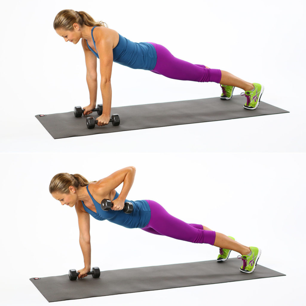 Push up plank rows