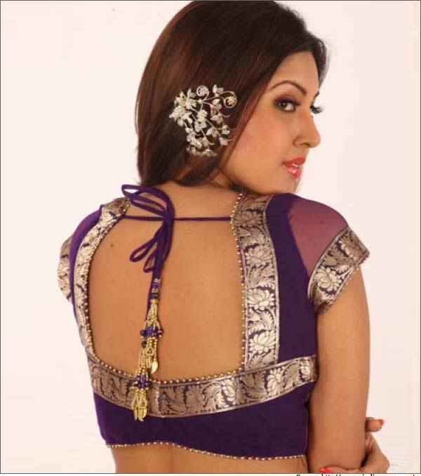 Rectangular and oval neck blouse design