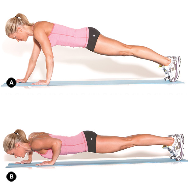 Staggered push ups