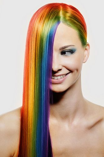 Straight hair with rainbow streaks