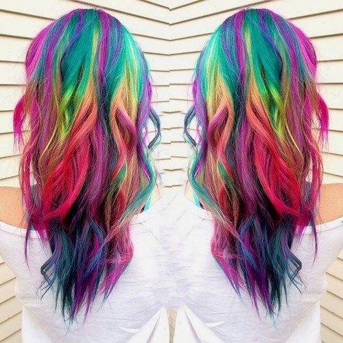 Wavy hair with rainbow colors