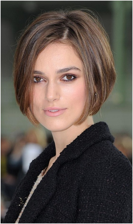 A perfect side parted graduated bob