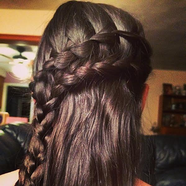 Angular double waterfall braid