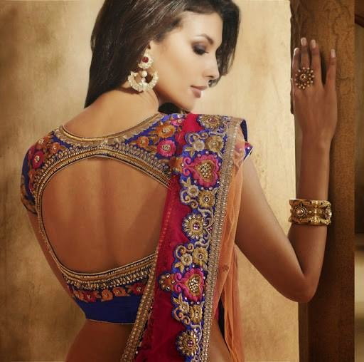 Back open blouse design for half saris
