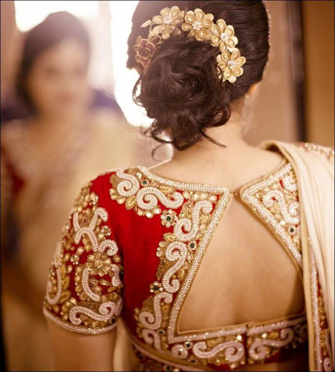 Maggam work blouse designs for wedding saree Top blouse designs