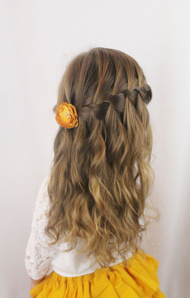 Back waterfall braid with floral clip