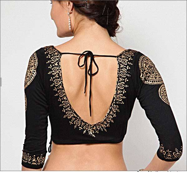 Black blouse back design