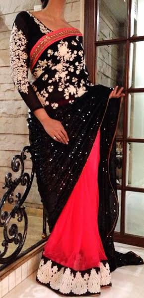 Black full sleeve blouse with intricate thread work