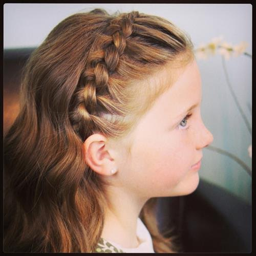 Crown waterfall braid with open hairs for little girls