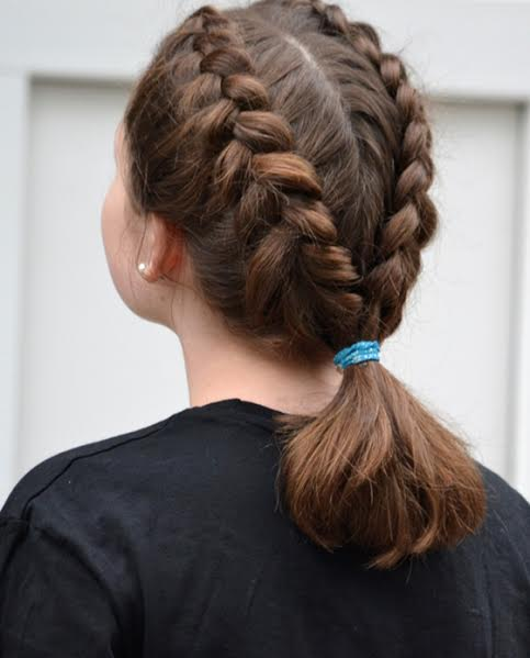 Double waterfall braid with a back ponytail