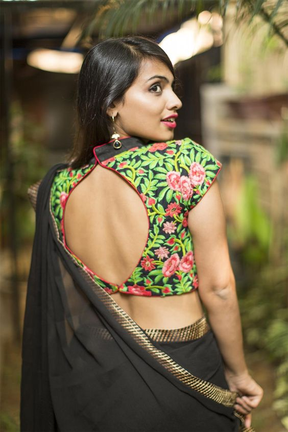 Embroidery green leafy design backless blouse