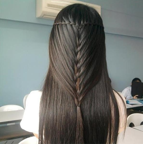Fishbone waterfall braiding for long hairs