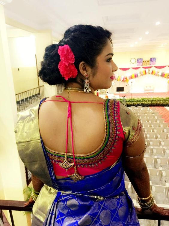 Floral bun with pattu saree