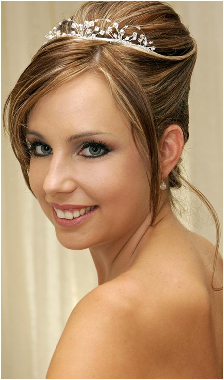 French bun on highlighted hairs for weddings