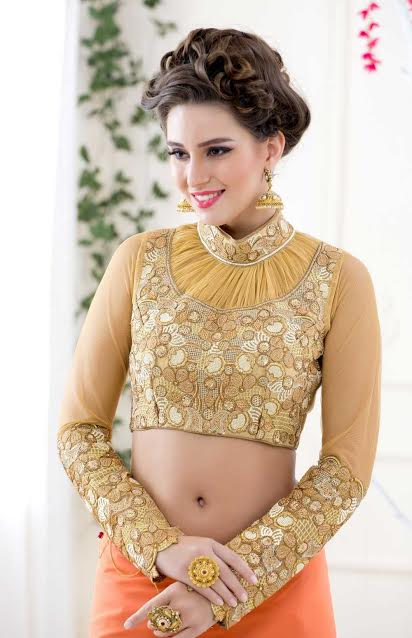golden-yellow-full-sleeve-party-blouse