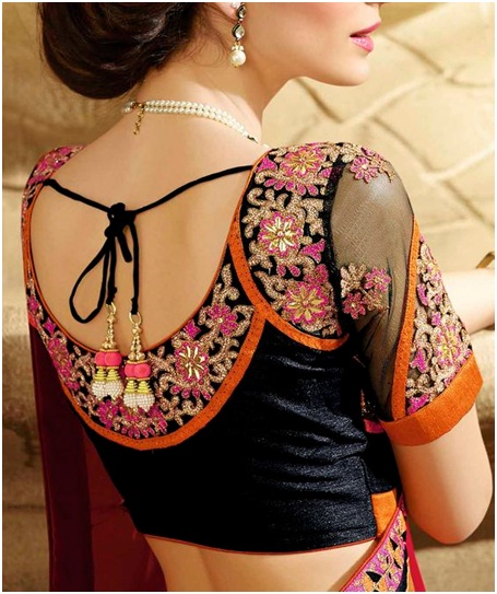 Intricately worked netted sleeve black blouse design