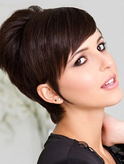 Long side swept front bangs with short hairs