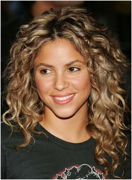 Middle parted hairstyle for medium length curly hairs