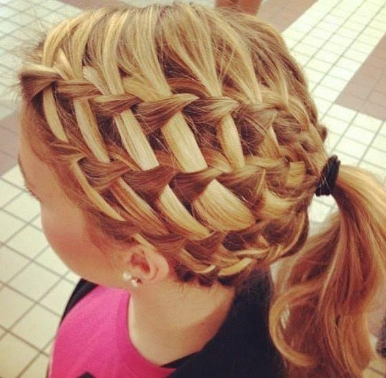 Multiple crown waterfall braiding with ponytail