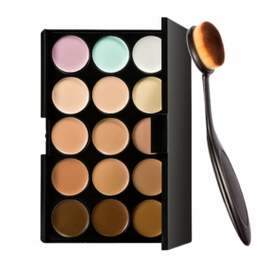 Okayji 15 Colors Contour Face Cream Makeup Concealer Palette and makeup Brush