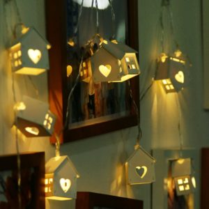 Romantic Wood House Shape Wire String Fairy Lights