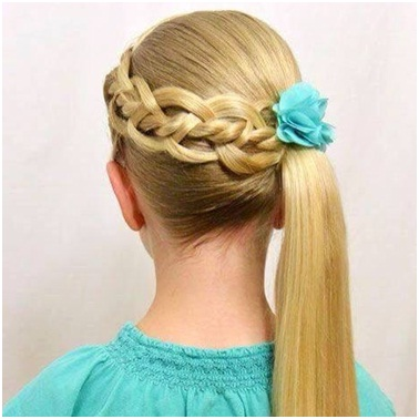Side braid with horse tail for little school girls