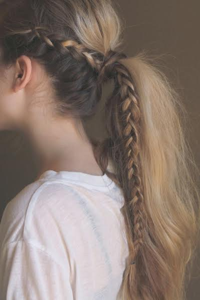 Side waterfall braid with long horsetail
