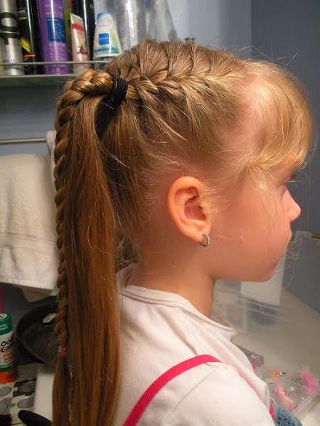 Side waterfall braiding with long ponytail