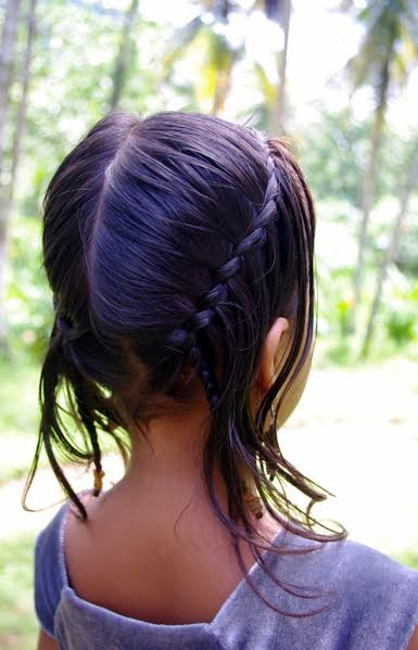 Side wise double waterfall braiding for little girls