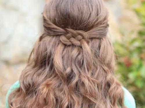 Simple double tied waterfall braiding