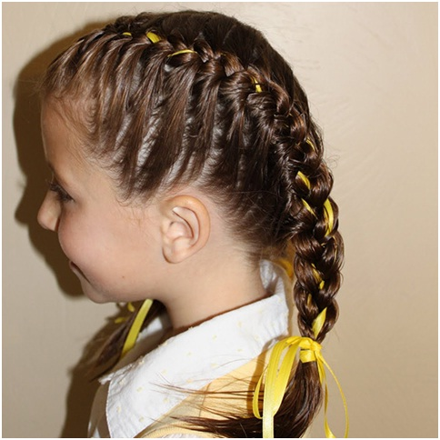 Waterfall braiding with a ribbon