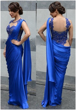 blue-net-blouse-with-plain-saree