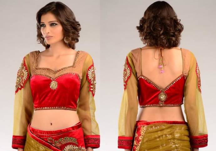 net-hands-blouse-design-for-net-saree-with-back-lower-neck
