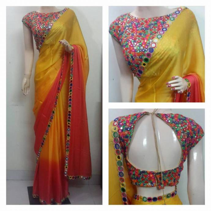 Lehenga blouse design in golden color and mirror work - Simple Work Blouse Design With Back Open