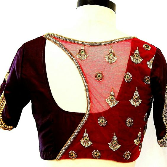 Net blouse designs - latest blouse designs with net back
