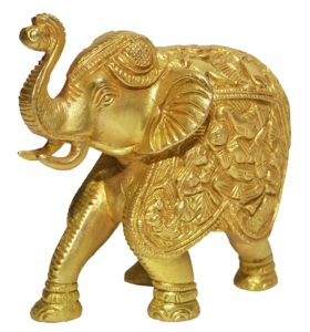 Decorated Brass Elephant Statue for Coffee Table Mantlepiece