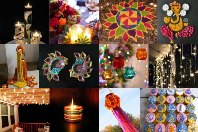 Diwali decoration ideas with diyas rangoli candles and for Home decorations in diwali