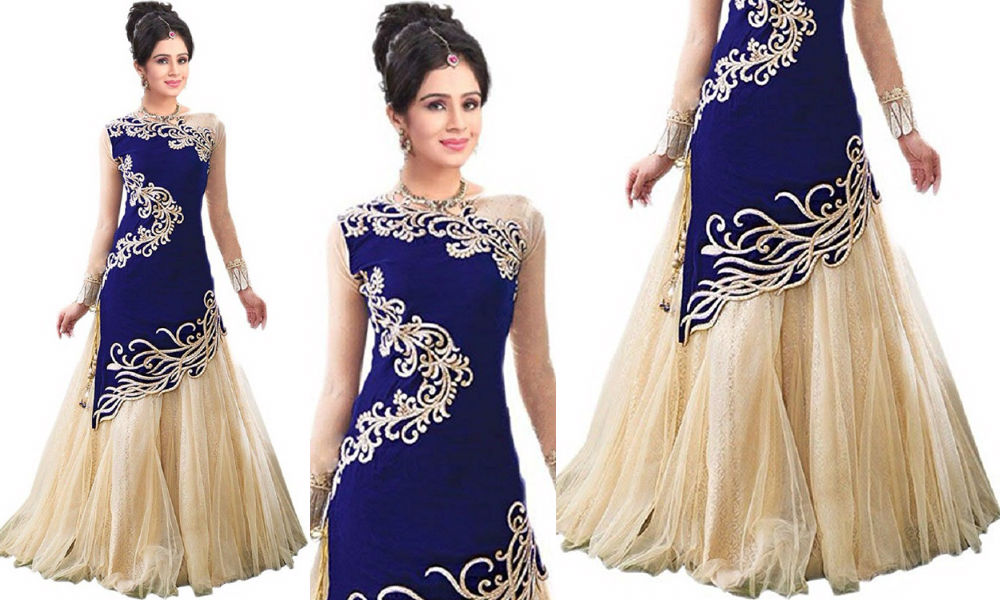 fashionable-blue-and-cream-color-georgette-gown-for-women