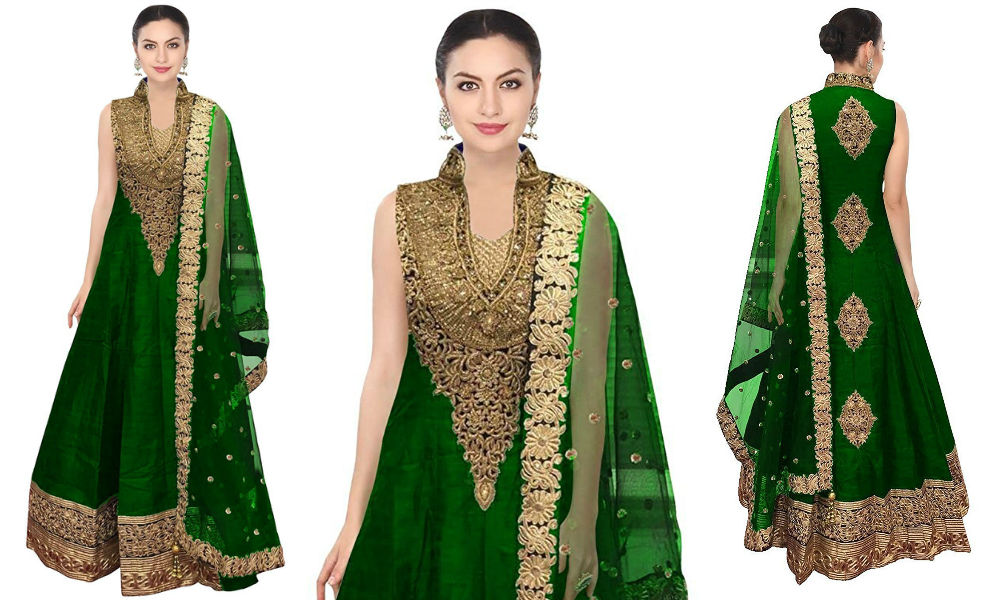 festival-wear-green-color-raw-silk-long-dress-for-women