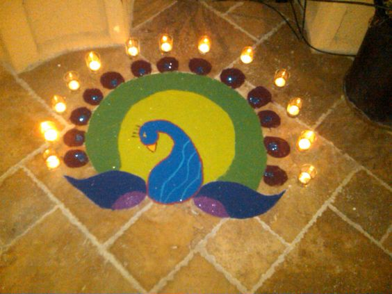 peacock-rangoli-with-candle-decoration