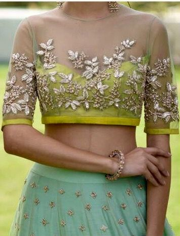 Sheer Net Floral Embroidered with Yellow Buster Blouse Design