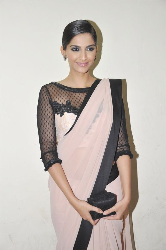 Sonam Kapoor Black sheer net Blouse Design with Alluring Pattern