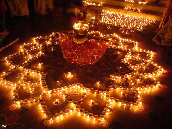 star-shaped-rangoli-with-diya