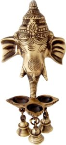 Two Moustaches Brass Ganesha Wall Hanging Deepak With Bells